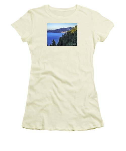 Women's T-Shirt (Junior Cut) featuring the photograph Morning Light At Crater Lake, Oregon by Nancy Marie Ricketts