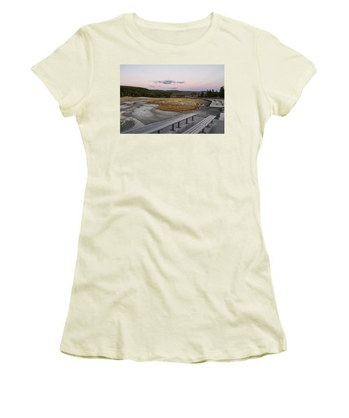 Morning Light At Old Faithful Women's T-Shirt (Junior Cut) by Shirley Mitchell