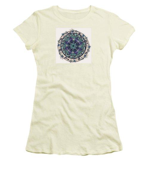 Morning Mist Mandala Women's T-Shirt (Junior Cut) by Deborah Smith