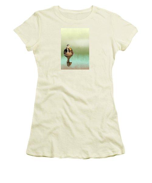 Mottled Duck Reflection Women's T-Shirt (Junior Cut) by Rosalie Scanlon
