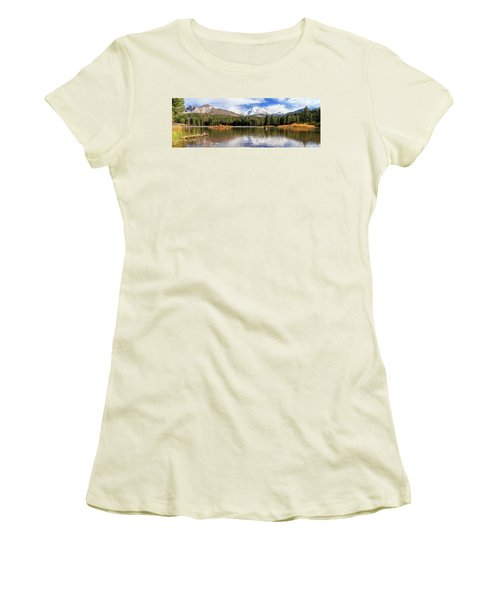Women's T-Shirt (Junior Cut) featuring the photograph Mount Lassen Autumn Panorama by James Eddy