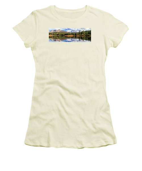 Women's T-Shirt (Junior Cut) featuring the photograph Mount Lassen Reflections Panorama by James Eddy