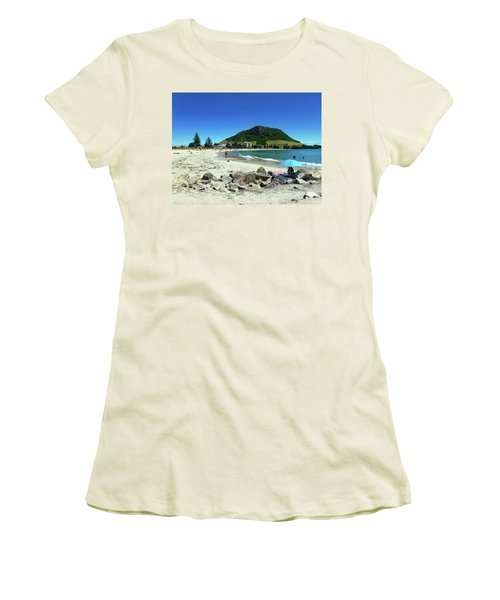 Mount Maunganui Beach 1 - Tauranga New Zealand Women's T-Shirt (Junior Cut) by Selena Boron