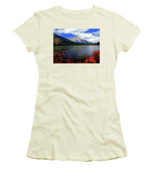 Women's T-Shirt (Junior Cut) featuring the photograph Mount Moran In The Fall by Raymond Salani III