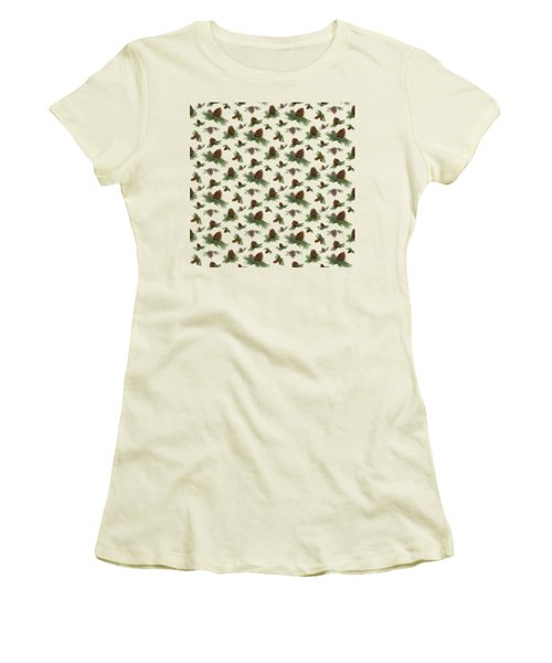 Women's T-Shirt (Junior Cut) featuring the painting Mountain Lodge Cabin In The Forest - Home Decor Pine Cones by Audrey Jeanne Roberts