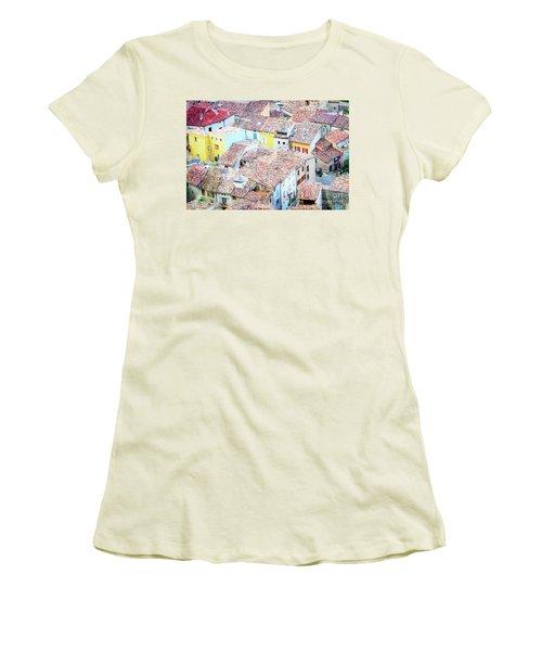 Moustiers Sainte Marie Roofs Women's T-Shirt (Junior Cut) by Anastasy Yarmolovich