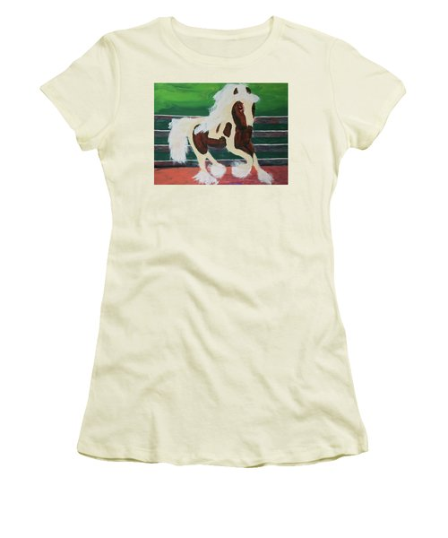 Women's T-Shirt (Athletic Fit) featuring the painting Moving Horse by Donald J Ryker III