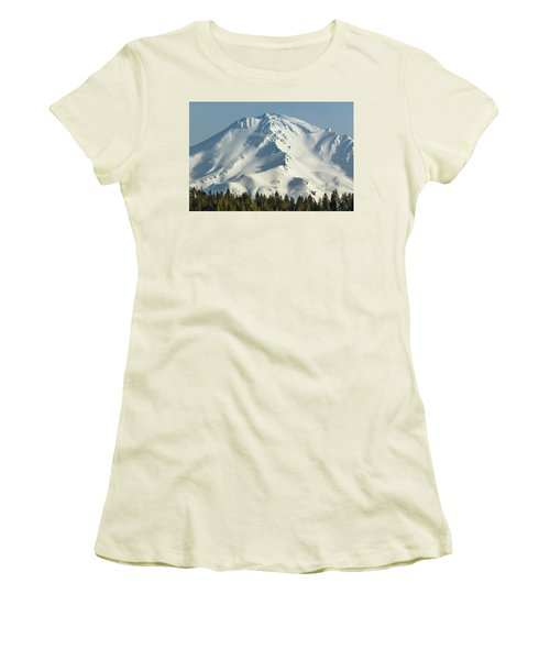 Women's T-Shirt (Junior Cut) featuring the photograph Mt Shasta In Early Morning Light by Marc Crumpler