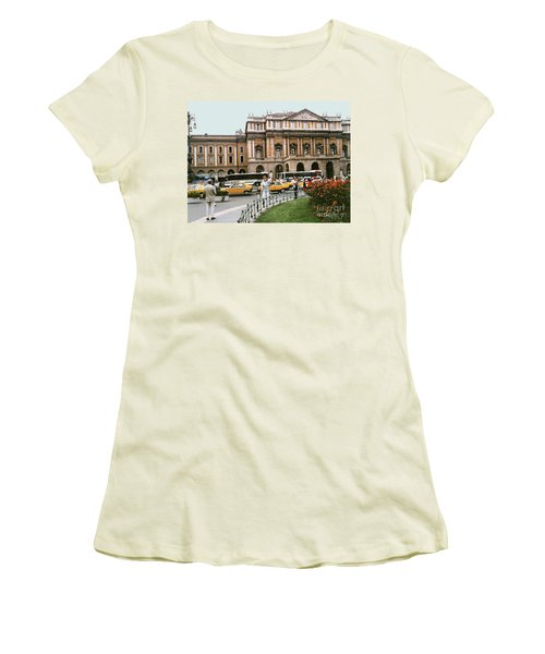Women's T-Shirt (Athletic Fit) featuring the photograph Museum Housing Leonardo Divinci's Last Supper Painting - Milan, Italy by Merton Allen