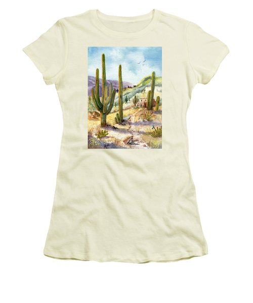 Women's T-Shirt (Junior Cut) featuring the painting My Adobe Hacienda by Marilyn Smith