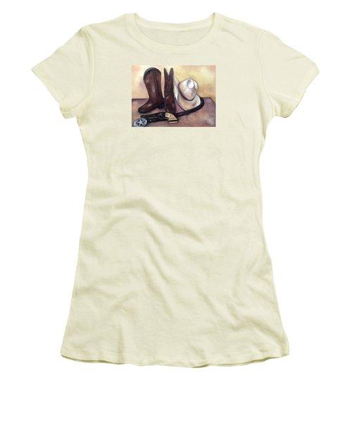 My Cowboy's Home Women's T-Shirt (Junior Cut) by Annamarie Sidella-Felts