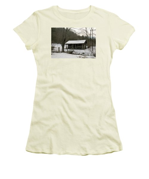 My Lil Cabin Home On The Hill In Winter Women's T-Shirt (Athletic Fit)