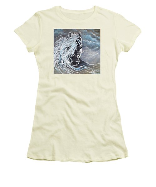 Women's T-Shirt (Junior Cut) featuring the painting My White Dream Horse by AmaS Art