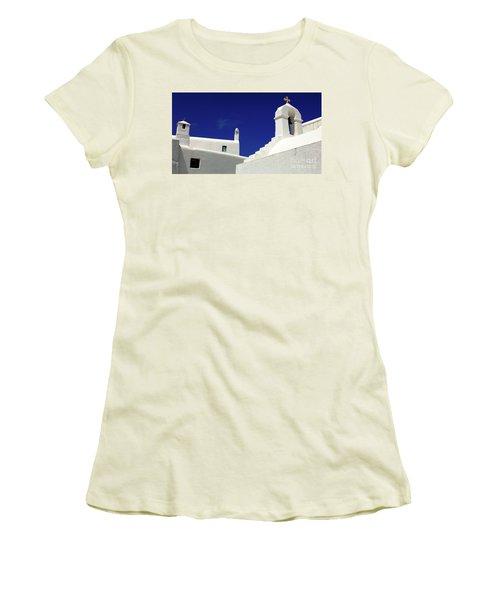 Mykonos Greece Architectual Line 5 Women's T-Shirt (Junior Cut) by Bob Christopher