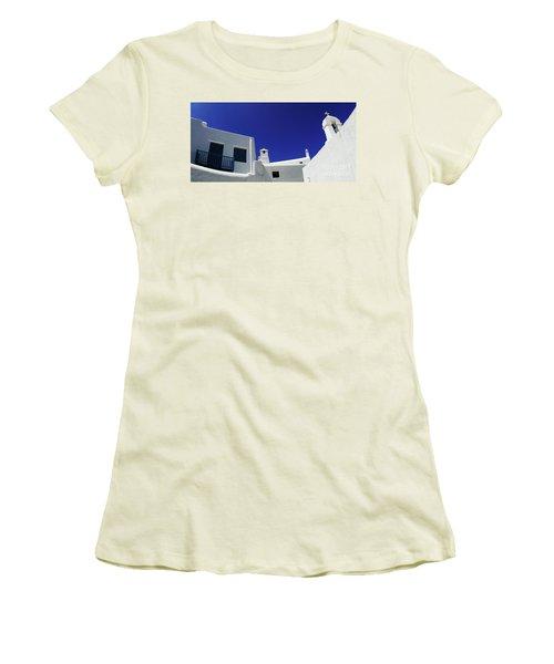 Mykonos Greece Clean Line Architecture Women's T-Shirt (Junior Cut) by Bob Christopher