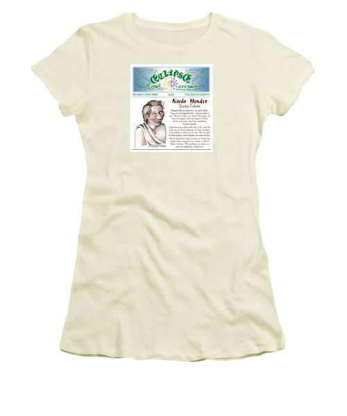Women's T-Shirt (Junior Cut) featuring the painting Real Fake News Society Column 1 by Dawn Sperry
