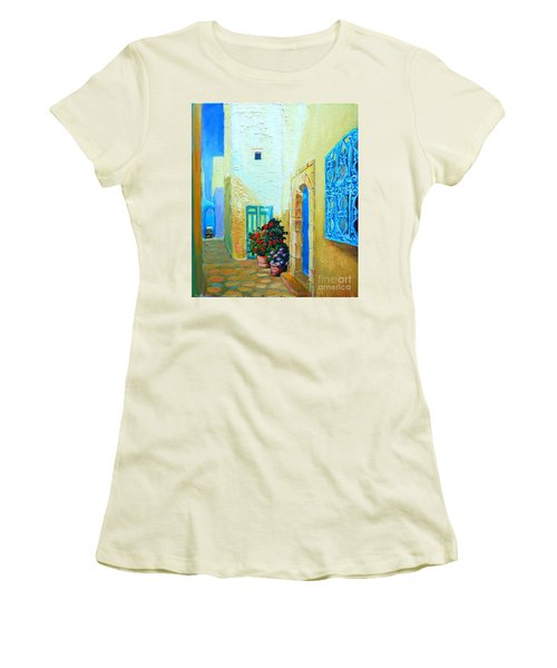 Women's T-Shirt (Junior Cut) featuring the painting Narrow Street In Hammamet by Ana Maria Edulescu