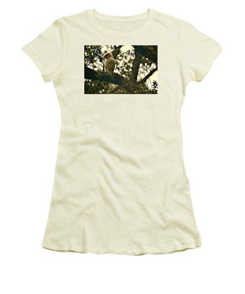 The Golden 'io Hawaiian Hawk Women's T-Shirt (Junior Cut) by Lehua Pekelo-Stearns