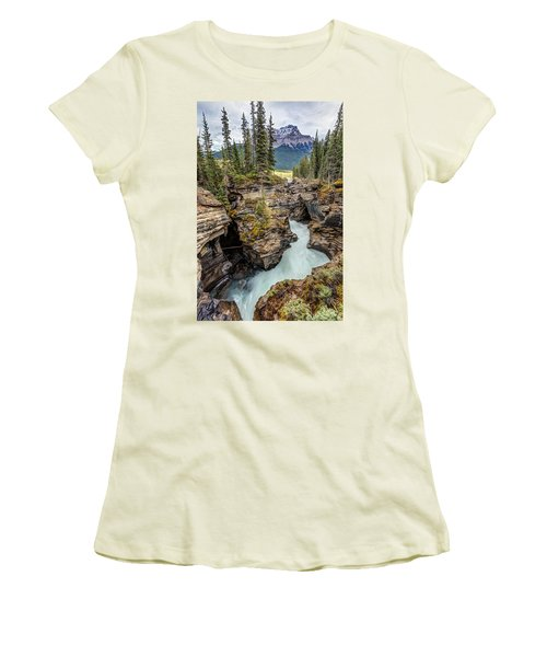 Women's T-Shirt (Junior Cut) featuring the photograph Natural Flow Of Athabasca Falls by Pierre Leclerc Photography