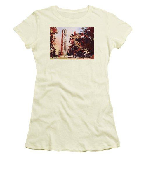 Women's T-Shirt (Junior Cut) featuring the painting Ncsu Bell-tower II by Ryan Fox
