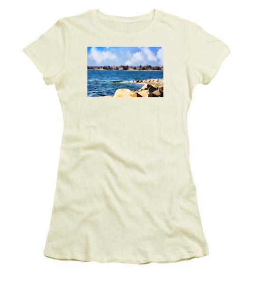New England Shoreline - Painterly Women's T-Shirt (Athletic Fit)
