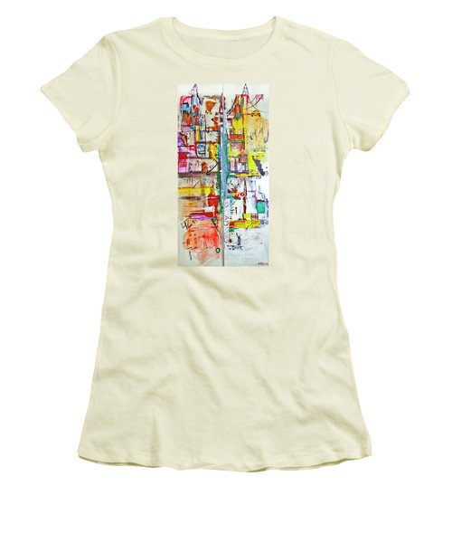 New York City Icons And Symbols Women's T-Shirt (Athletic Fit)