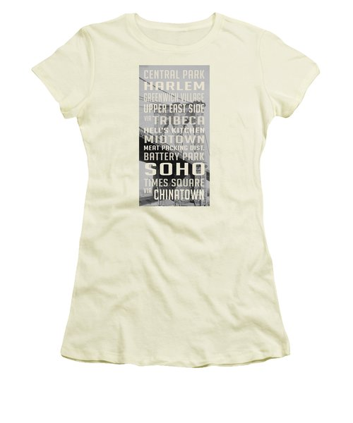 New York City Subway Stops Vintage Brooklyn Bridge Women's T-Shirt (Junior Cut) by Edward Fielding