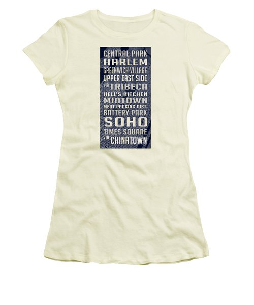 New York City Vintage Subway Stops With Map Women's T-Shirt (Junior Cut) by Edward Fielding
