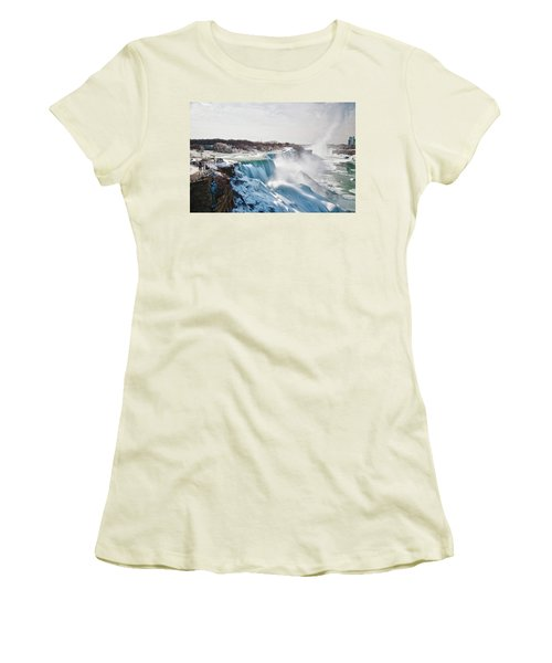 Women's T-Shirt (Junior Cut) featuring the photograph Niagara Falls 4589 by Guy Whiteley