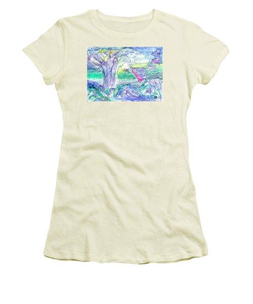 Night Flight Women's T-Shirt (Junior Cut) by Veronica Rickard