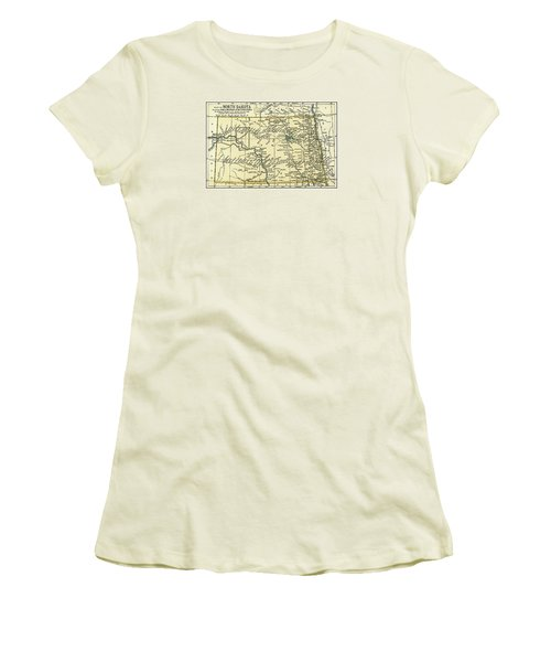 North Dakota Antique Map 1891 Women's T-Shirt (Athletic Fit)