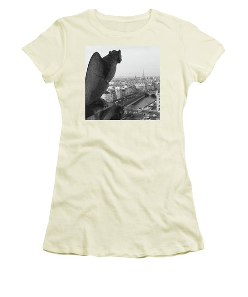 Women's T-Shirt (Junior Cut) featuring the photograph Notre Dame Gargoyle by Victoria Lakes