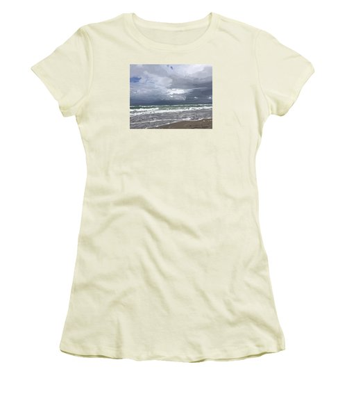 Ocean And Clouds Over Beach At Hobe Sound Women's T-Shirt (Athletic Fit)
