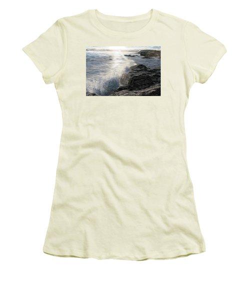 Ocean Splash Women's T-Shirt (Junior Cut) by Carol Crisafi