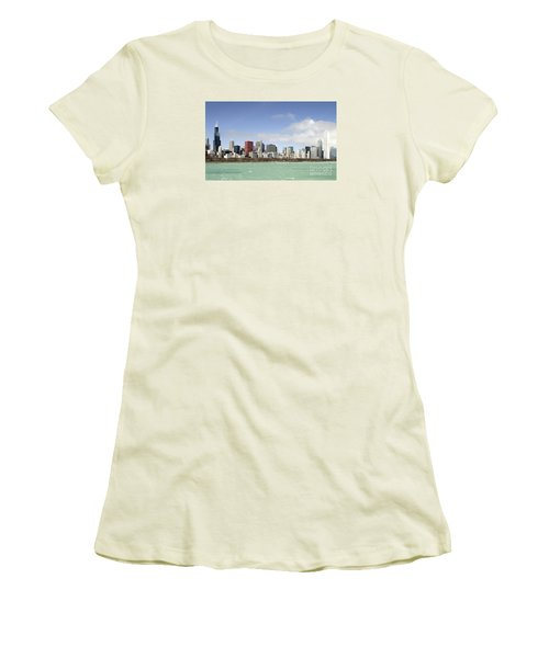 Women's T-Shirt (Junior Cut) featuring the photograph Off The Shore Of Chicago by Ricky L Jones