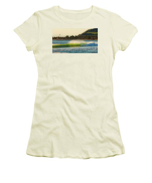 Women's T-Shirt (Junior Cut) featuring the photograph Offshore Wind Wave And Ventura, Ca Pier by John A Rodriguez