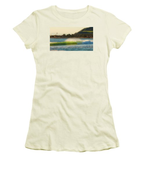 Offshore Wind Wave And Ventura, Ca Pier Women's T-Shirt (Athletic Fit)