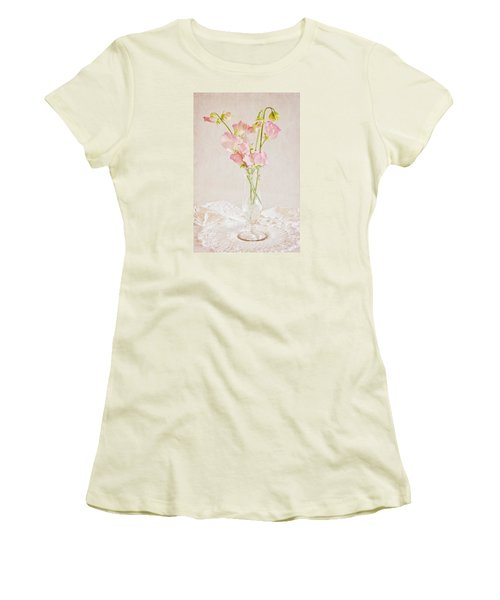 Old Fashioned Sweet Peas Women's T-Shirt (Junior Cut) by Sandra Foster