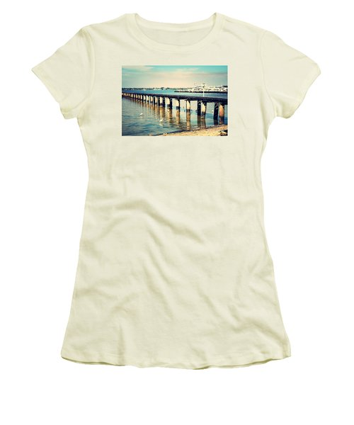 Old Fort Myers Pier With Ibises Women's T-Shirt (Junior Cut) by Carol Groenen