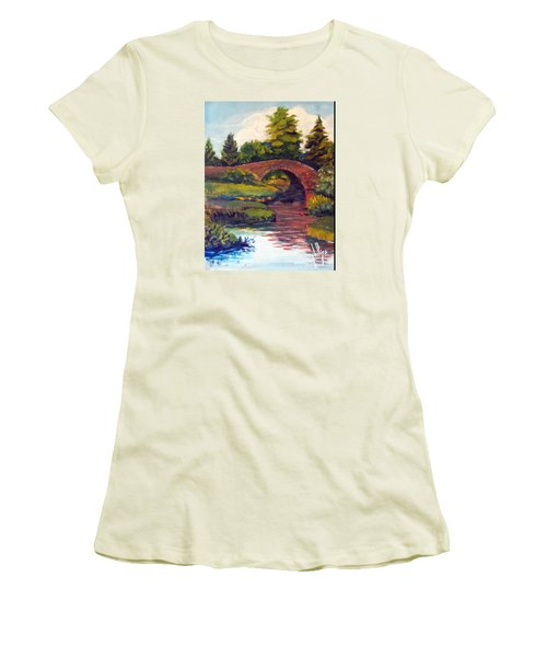Old Red Stone Bridge Women's T-Shirt (Junior Cut) by Jim Phillips