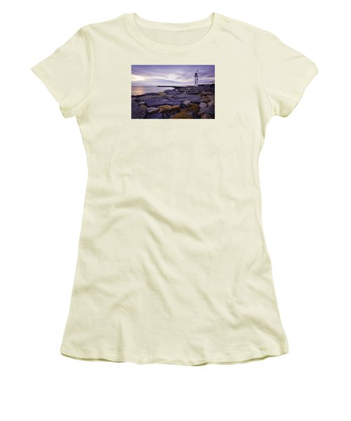 Old Scituate Light At Sunrise Women's T-Shirt (Junior Cut) by Betty Denise