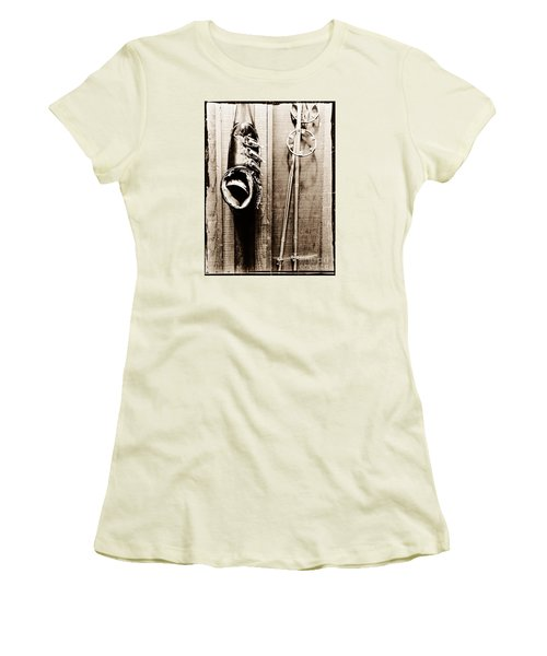 Old Ski Boot And Pole Women's T-Shirt (Athletic Fit)