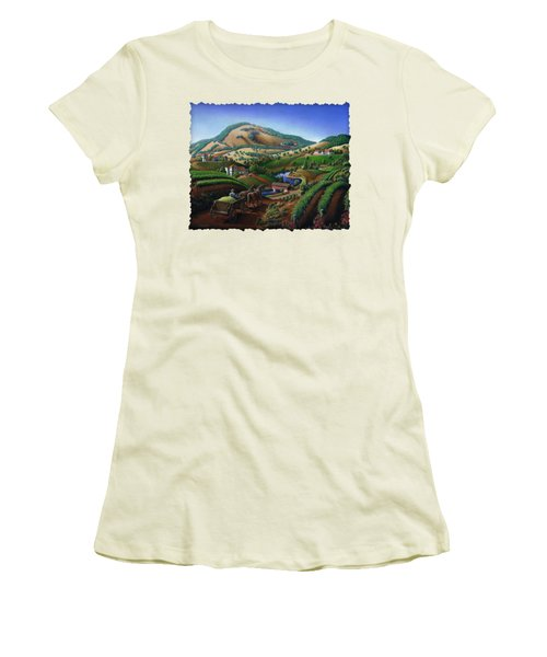 Old Wine Country Landscape - Delivering Grapes To Winery - Vintage Americana Women's T-Shirt (Junior Cut) by Walt Curlee