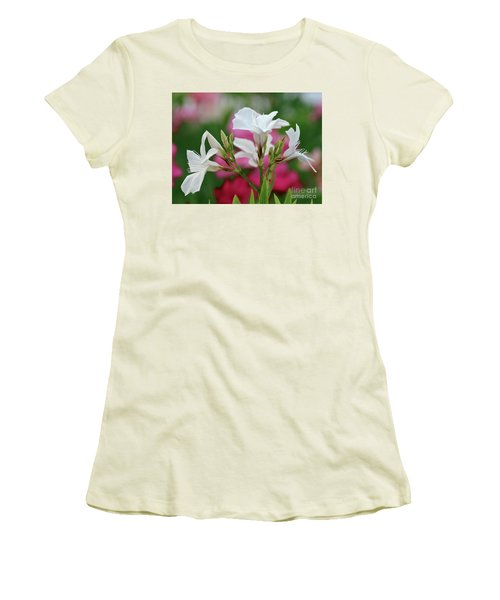 Women's T-Shirt (Junior Cut) featuring the photograph Oleander Casablanca 1 by Wilhelm Hufnagl