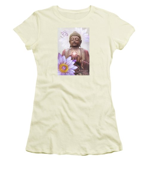 Om Mani Padme Hum - Buddha Lotus Women's T-Shirt (Junior Cut) by Sharon Mau