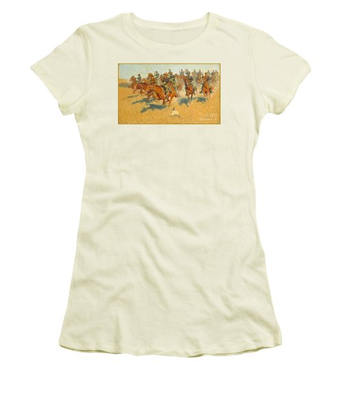 Women's T-Shirt (Junior Cut) featuring the photograph On The Southern Plains Frederic Remington by John Stephens