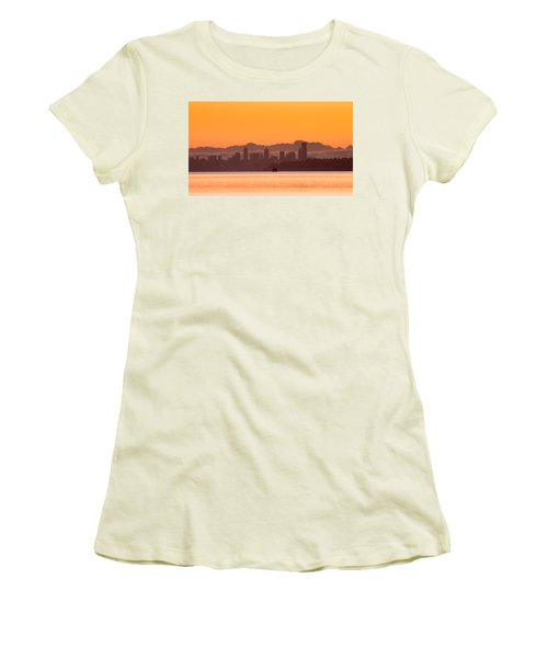 Women's T-Shirt (Junior Cut) featuring the photograph Seattle Skyline In Orange by E Faithe Lester