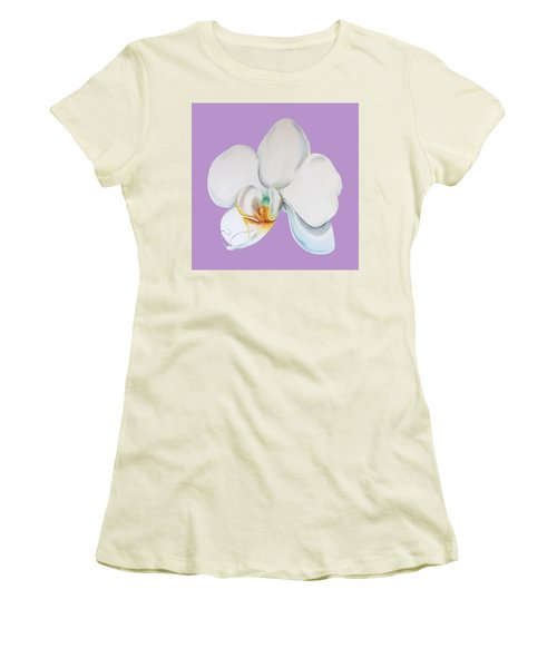 Women's T-Shirt (Athletic Fit) featuring the digital art Orchid On Lilac by Elizabeth Lock