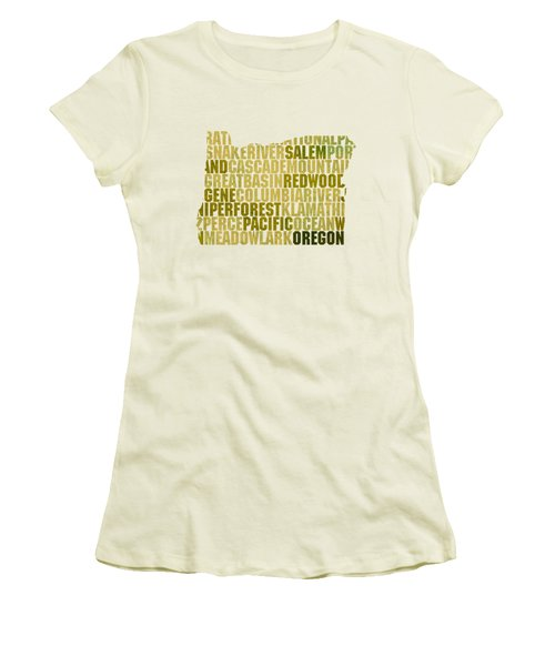 Oregon State Outline Word Map Women's T-Shirt (Junior Cut) by Design Turnpike