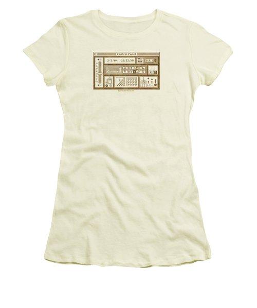 Original Mac Computer Control Panel Circa 1984 Women's T-Shirt (Junior Cut) by Design Turnpike